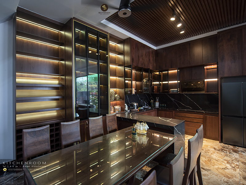 tủ bếp nội thất gỗ óc chó